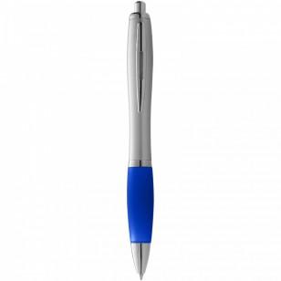 Długopis ze srebrnym korpusem i kolorowym uchwytem Nash