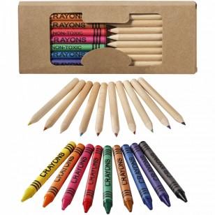 19-elementowy zestaw kredek ołówkowych i świecowych Lucky